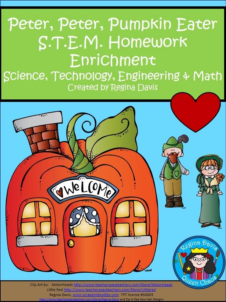http://www.teacherspayteachers.com/Product/A-FLASH-FREEBIE-Peter-Peter-Pumpkin-Eater-STEM-Homework-Enrichment-1515492