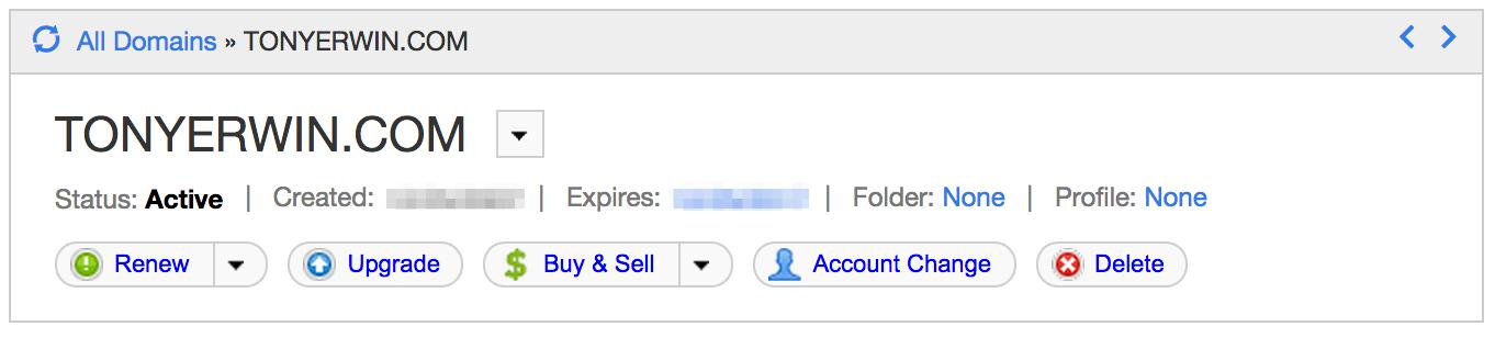 GoDaddy Domain Dashboard