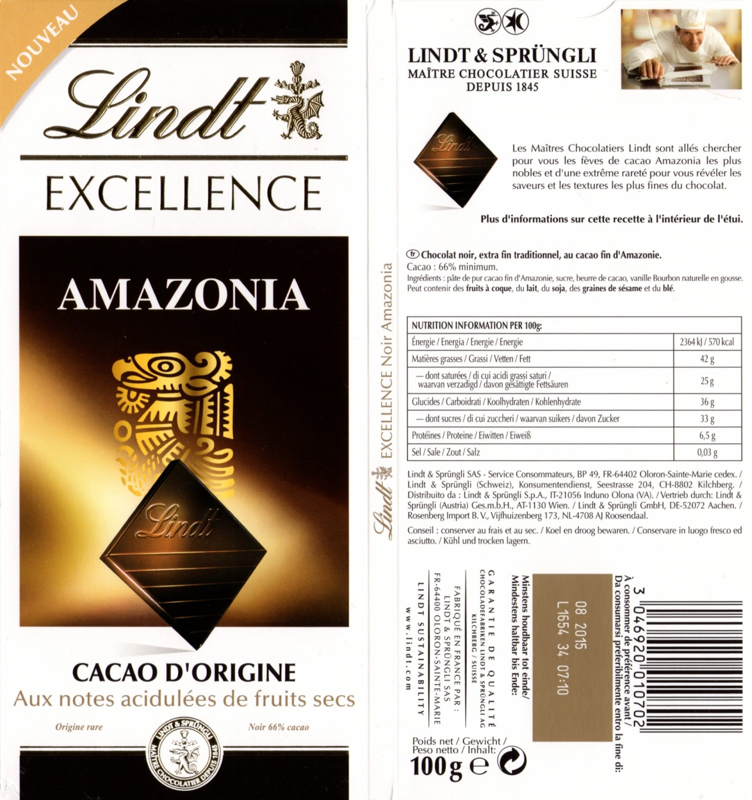 tablette de chocolat noir dégustation lindt excellence amazonia 66
