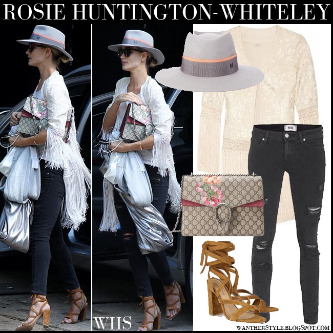 Rosie Huntington-Whiteley in grey hat, fringed cream Talitha Ghara jacket, black skinny Paige Denim Verdugo jeans, brown suede Gianvito Rossi sandals and canvas print Gucci Dionysus blooms bag what she wore july 29