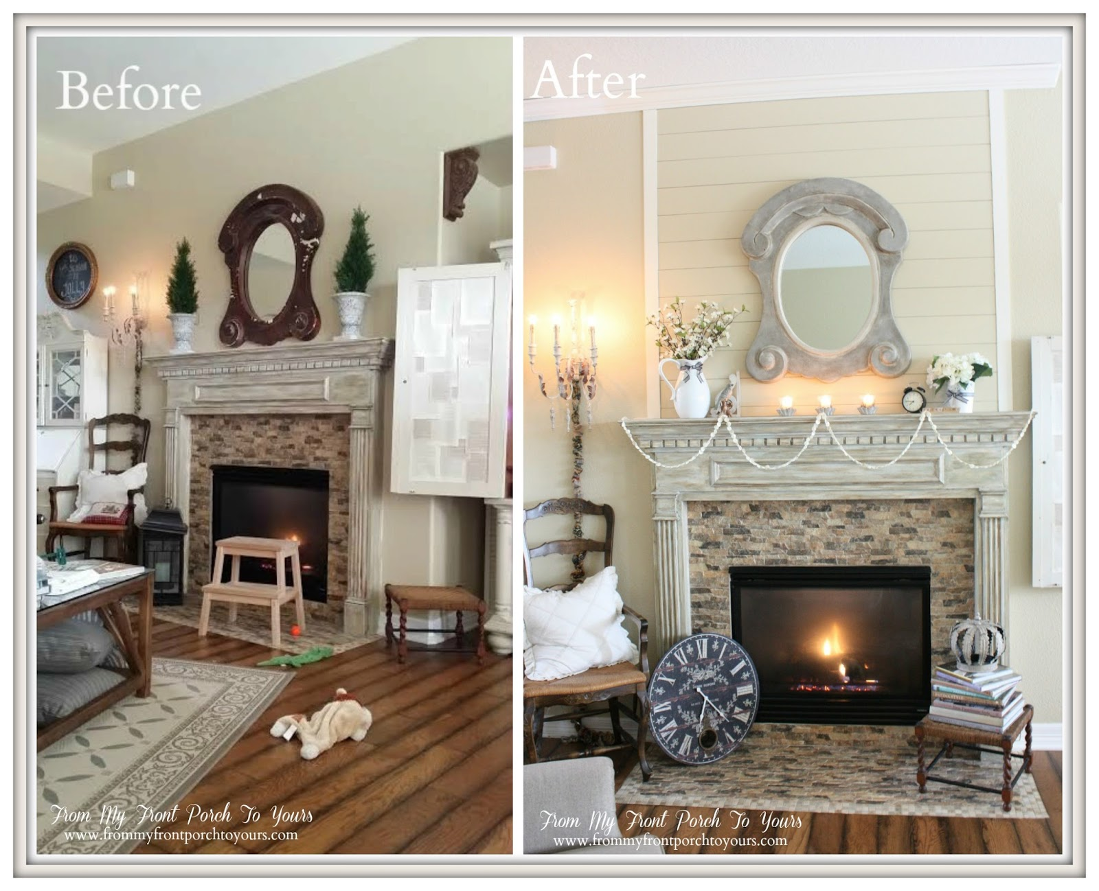 From My Front Porch To Yours Planked Fireplace Before & After Collage