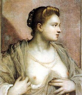 La dama que descubre el pecho. TintorettoVeronica Franco. Cortesana y amante del pintor