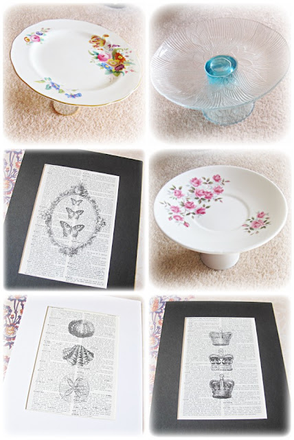 image domum vindemia cupcake stands upcycled bone china glass platters two cheeky monkey repurposed dictionary art prints butterflies crowns seashells