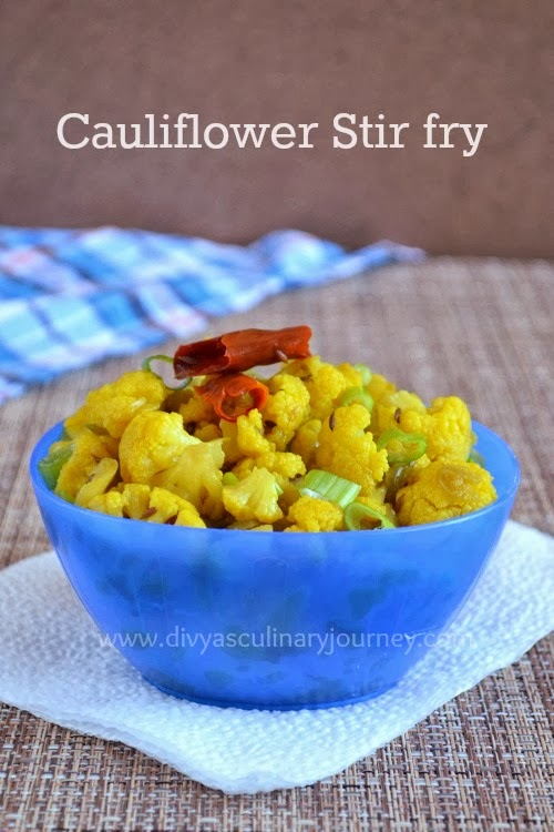 Divya's culinary journey: Cauliflower Poriyal/ Cauliflower Stir fry