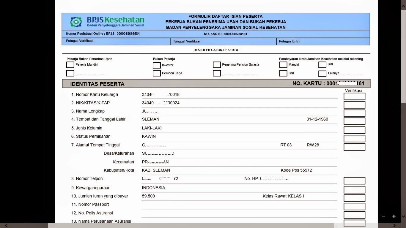 Contoh Formulir Daftar Isian Peserta BPJS Online