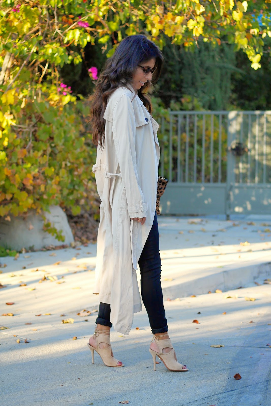 how to style a trench coat, trench coat outfit, fall winter style, LA fashion