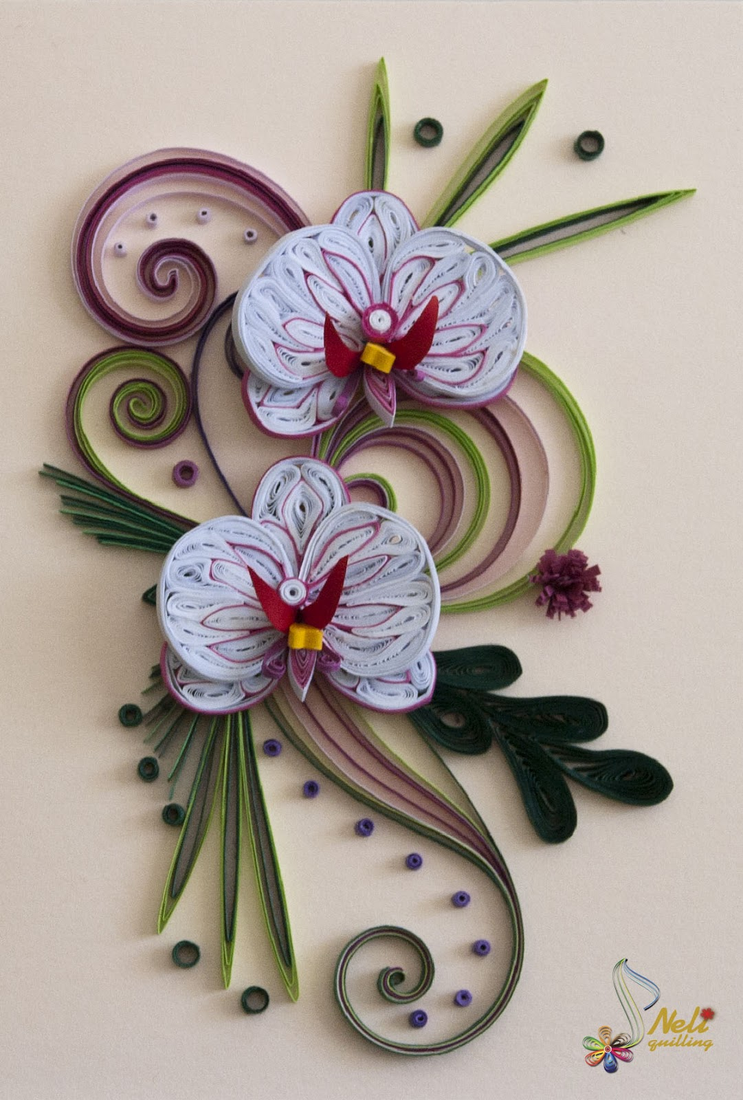 Neli quilling art quilling cards orchids for Pinterest fiori