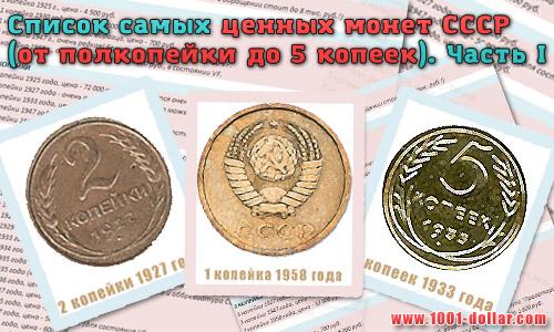 Список самых ценных монет СССР по номиналу. Часть I