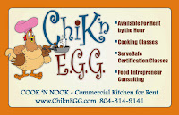 The Cook 'N Nook is a commercial kitchen for rent by the hour in Goochland County, VA