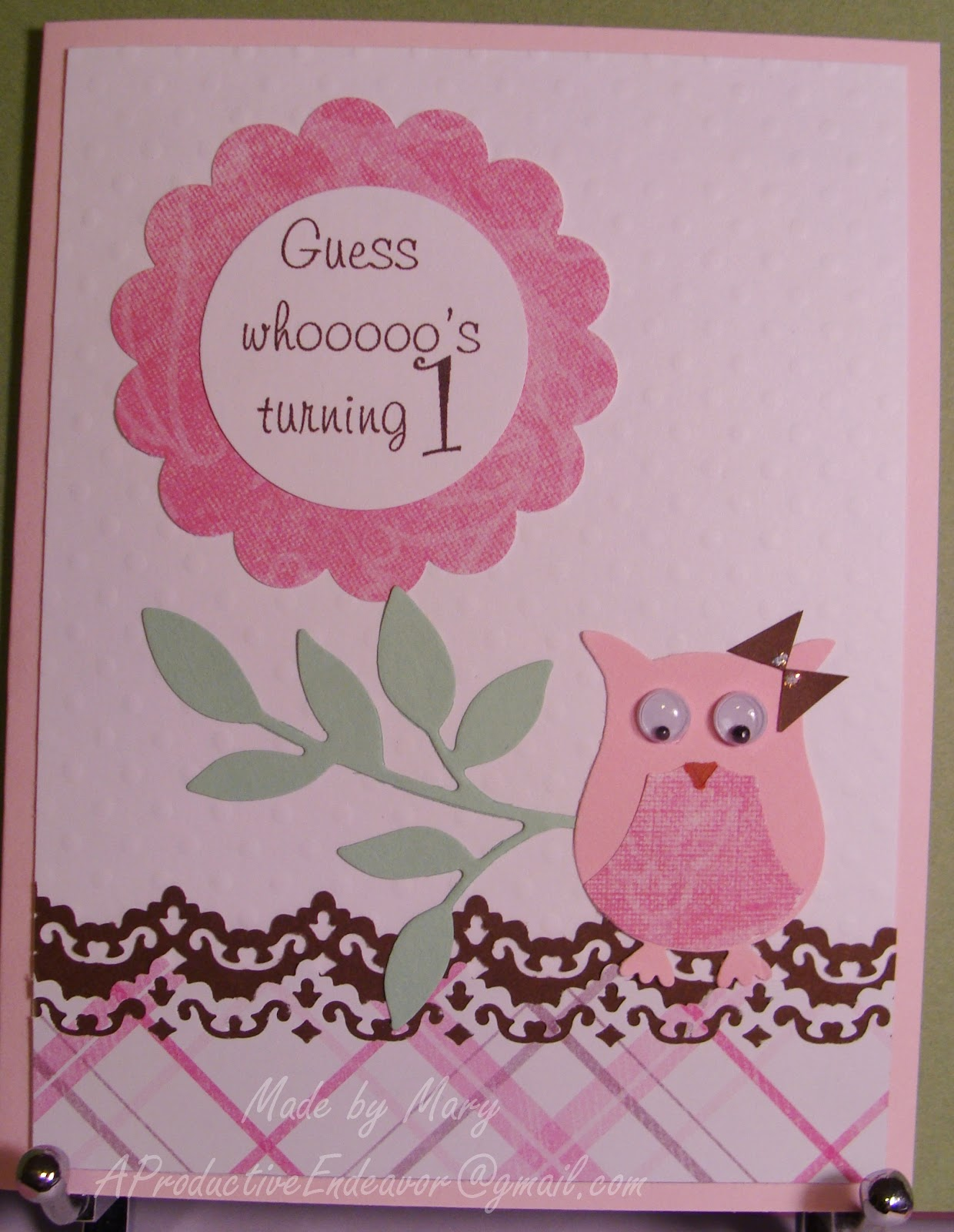 A Productive Endeavor A baby s first birthday card