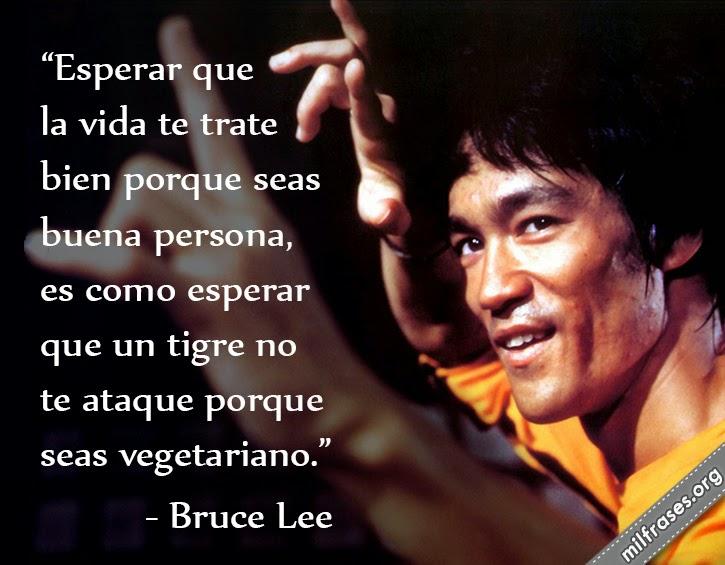 frases de Bruce Lee, Esperar que la vida te trate bien porque seas buena persona, es como esperar que un tigre no te ataque porque seas vegetariano.