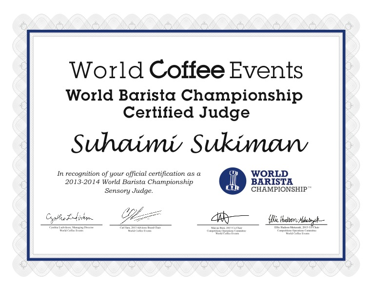 I Am A Barista In Sg World Barista Championship Sensory Judge