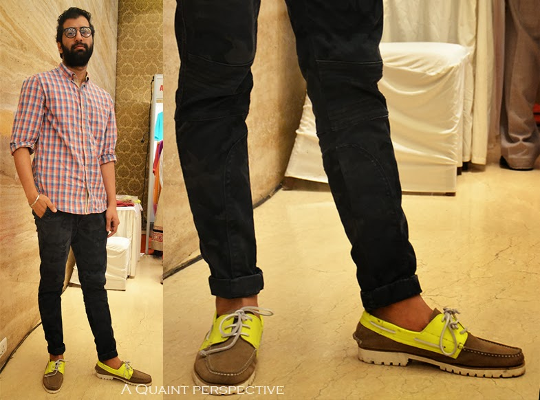 www.aquaintperspective.blogspot.com Rustam Chauhan in military fatigue pants, plaid shirt and boat shoes