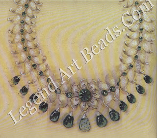 Original design for a platinum set necklace in emeralds and diamonds created by Van Cleef & Arpels for Sita Devi of Baroda in 1950. As with most of her other commissions, Sita Devi provided the stones for this piece.