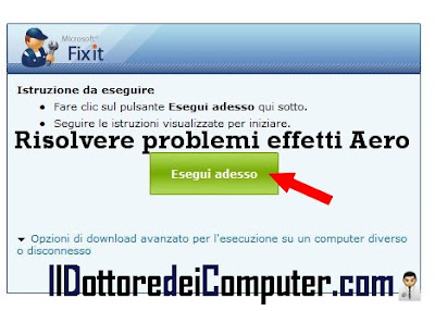 risolvere problemi windows aero