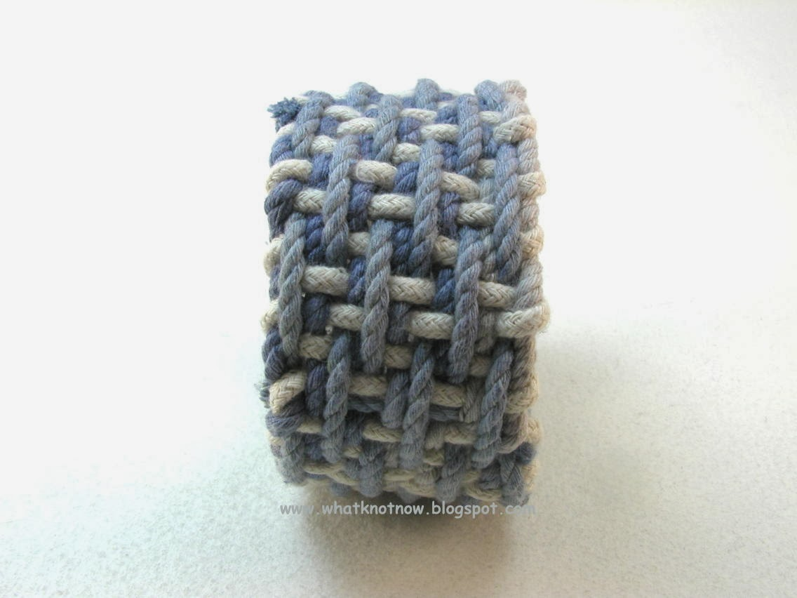 How To Weave A Basket With Rope : Knots and fiber bracelets blue cotton two layer basket