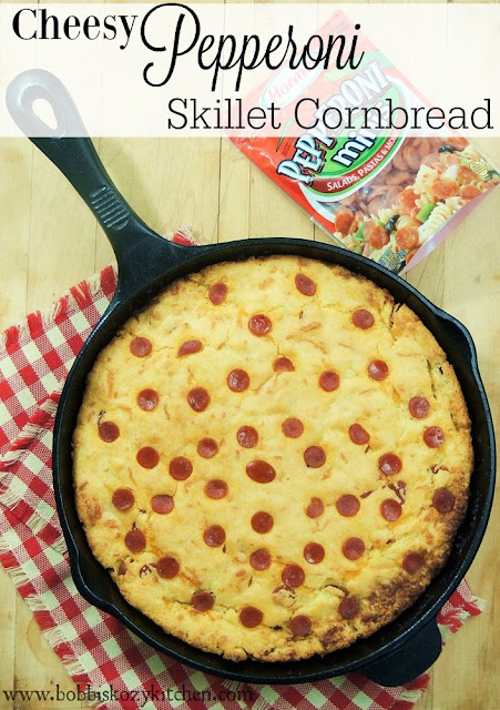 Cheesy Pepperoni Skillet Cornbread from www.bobbiskozykitchen.com