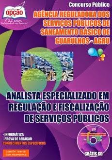 Novo Concurso Agência Reguladora dos Serviços Públicos de Saneamento Básico de Guarulhos 2015