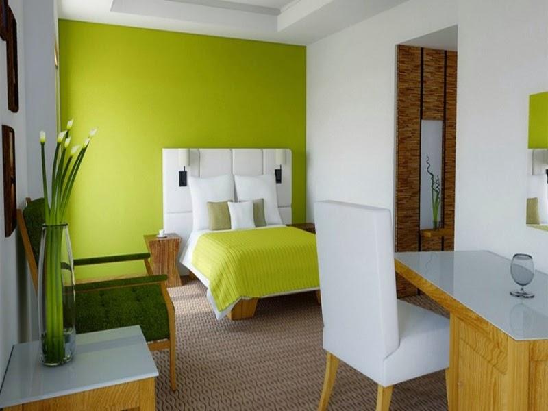 Kombinasi warna hijau muda dan putih pada dinding rumah minimalis ...