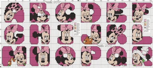 Oh my Alfabetos!: Alfabeto de Minnie para bordar o punto de cruz.
