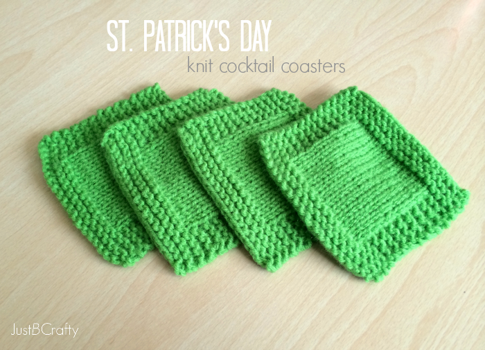 St. Patricks Day Knit Cocktail Coasters Just B Crafty