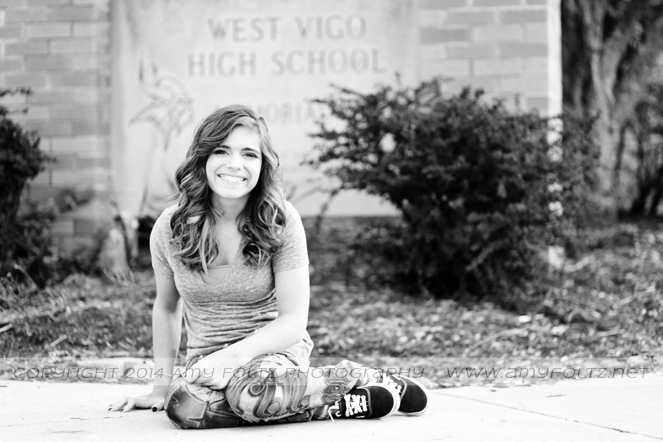 senior photo in front of high school  - Terre Haute photographer