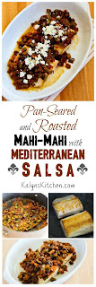 Pan-Seared and Roasted Mahi Mahi with Mediterranean Salsa and Feta found on KalynsKitchen.com