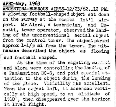 Football Shaped Object Lands on Runway at Ezeiza Int.Airport 12-23-1962