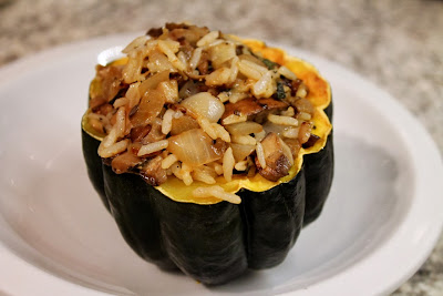 Mushroom, rice and onion stuffed acorn squash