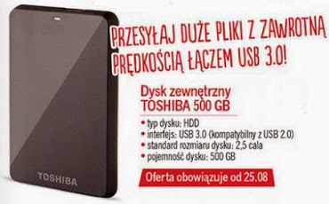 Dysk zewnętrzny TOSHIBA 500 GB z Biedronki