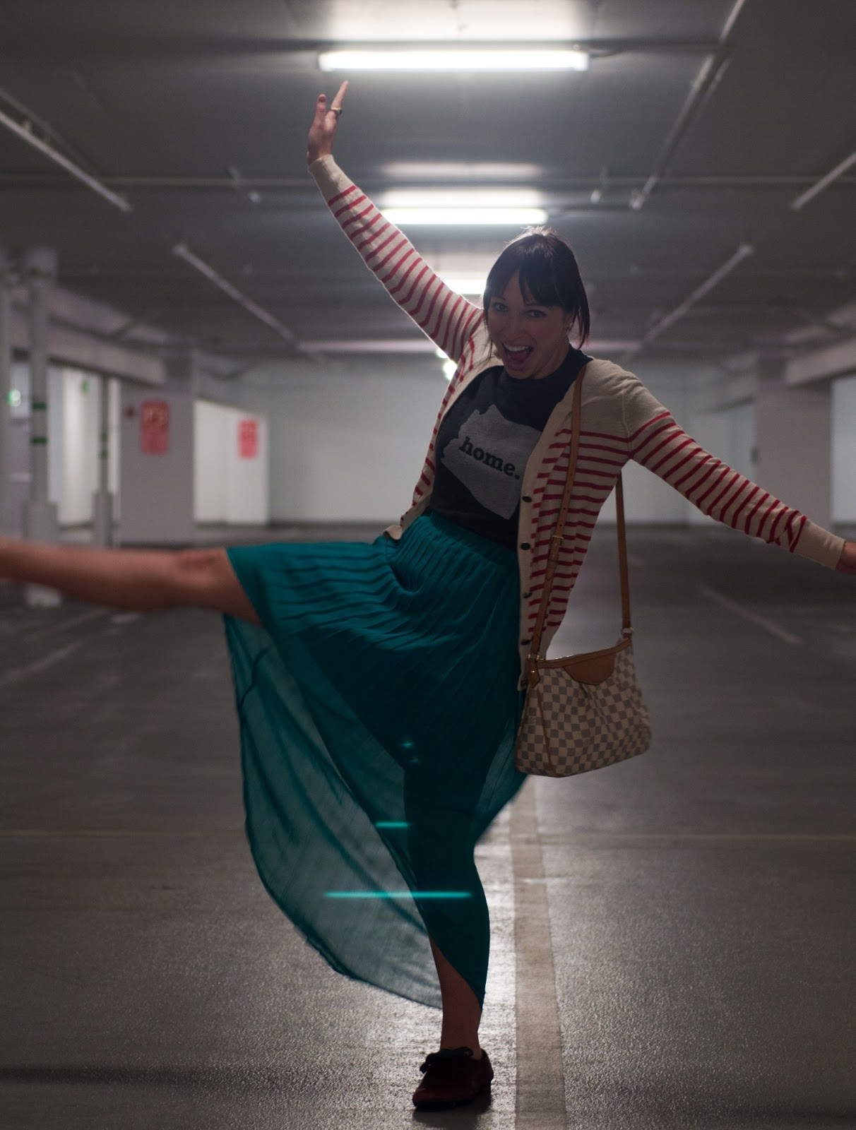 fashion blogger, ootd, mens fashion blog, womens fashion blog, home t, arizona, bdg. bdg, anchor, stripes, pleated skirt, teal skirt, american apparel, louis vuitton, louis vuitton crossbody, siracusa mm, damier, louis vuitton handbag, target, naya, nordstrom, target skirt, oxford, anthropologie ootd, mac, mac lipstick, mac sheen lipstick, parking garage, salt lake city, utah blogger, utah fashion blogger, mormon blogger, mormon clothing blogger, red and white stripes, goofy picture, city creek mall, city creek mall parking garage,