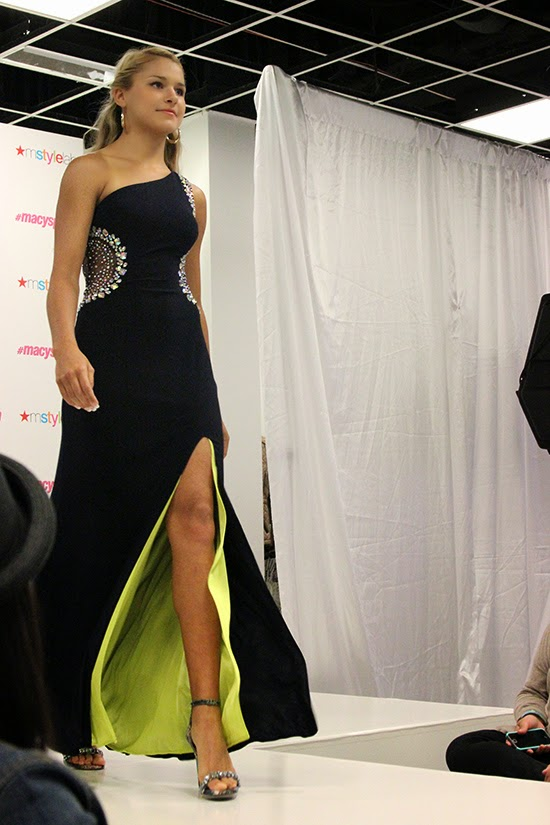 Navy Jeweled Mesh Cut Out Prom Dress 2015