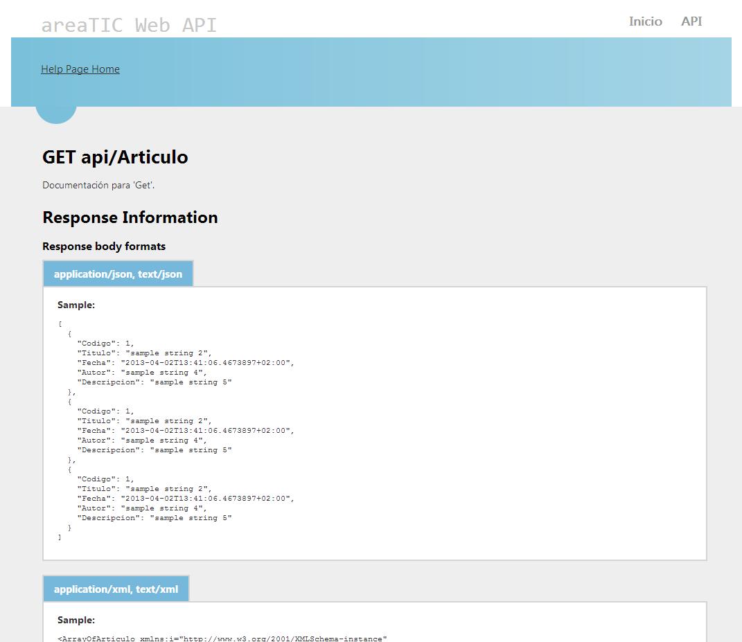 areaTIC, ASP.NET MVC 4.0, Web Api Referencia servicio artículo