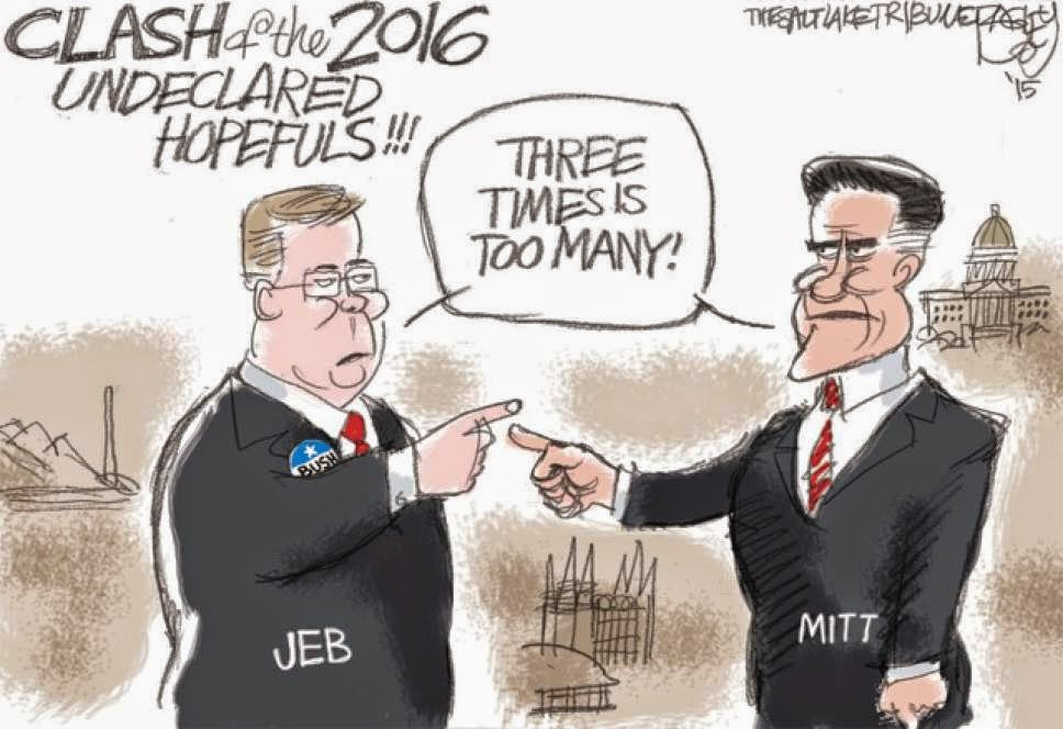 Jeb Bush and Mitt Romney pointing at each other and saying,