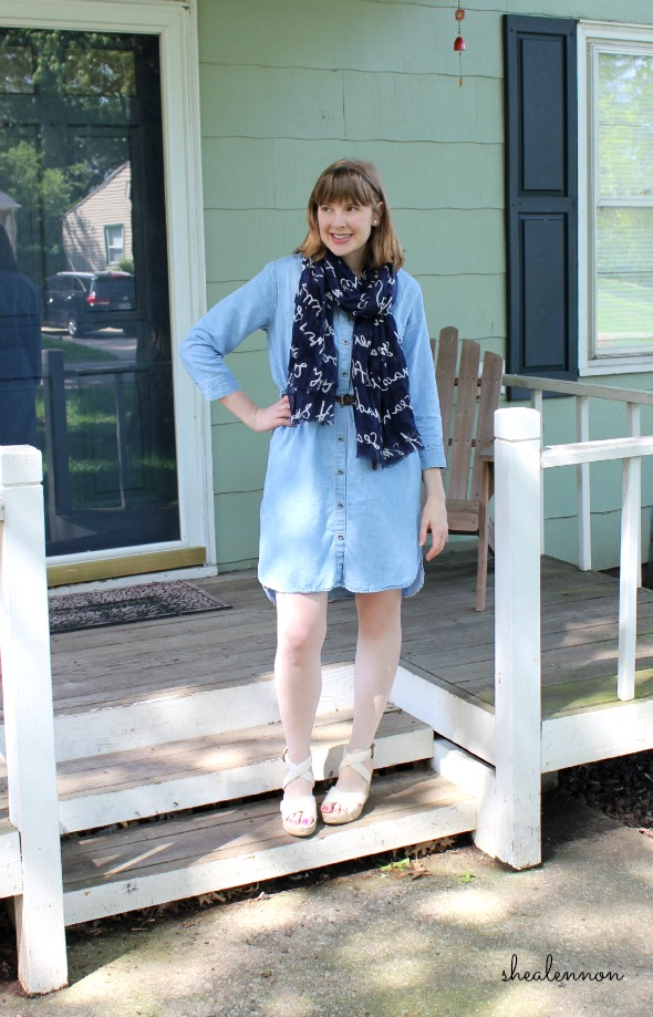 Chambray dress for work with scarf and wedges | www.shealennon.com