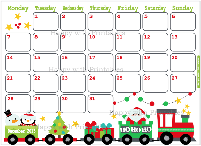 Christmas Calendar 2015 : Happywithprintables december planner christmas