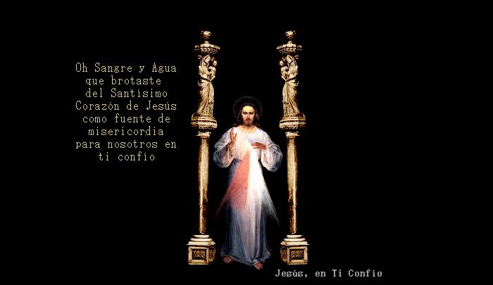 columnas y jesus con oracion de sangre y agua