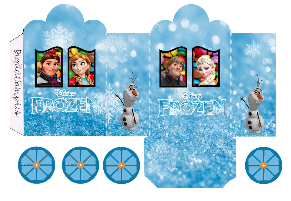 Frozen Free Printable Box Carriage Shaped.
