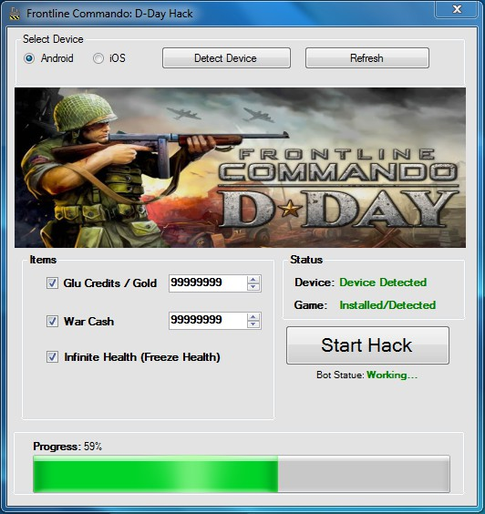 THIS IS FRONTLINE COMMANDO D DAY HACK CHEAT TOOL 2013 SCREENSHOT