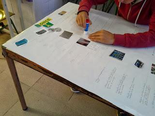 un alumno pega fotografías y recortes de la ONCE