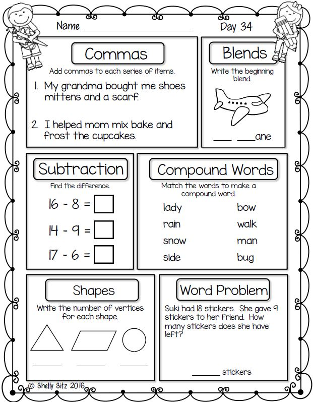 Worksheets Daily Morning Work 1st Grade smiling and shining in second grade first morning work free for grade