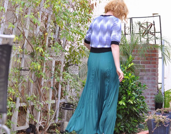 Green Pleated Maxi skirt, beauty by SW