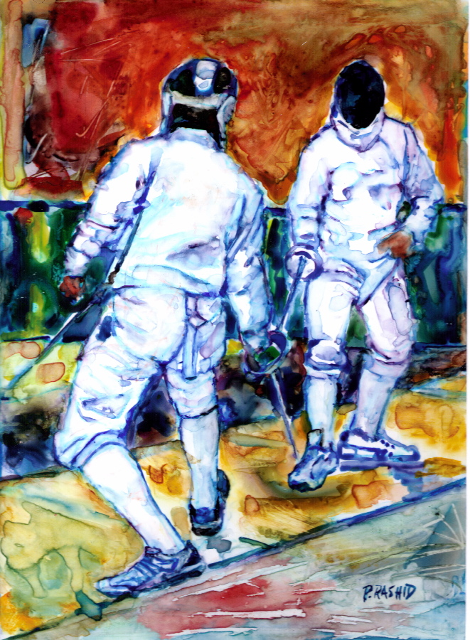 Dynamic Sport Fencing Paintings