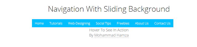 How to create a navigation with sliding background and integrate with Blogger?