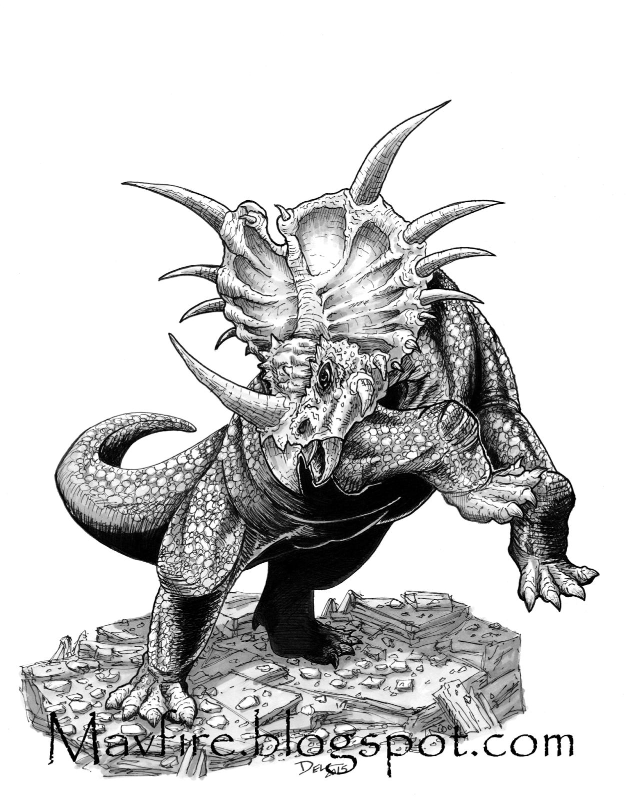 Styracosaurus Dinosaur Drawing