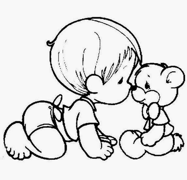 desenho de menino bebe dos preciosos momentos engatinhando com ursinho