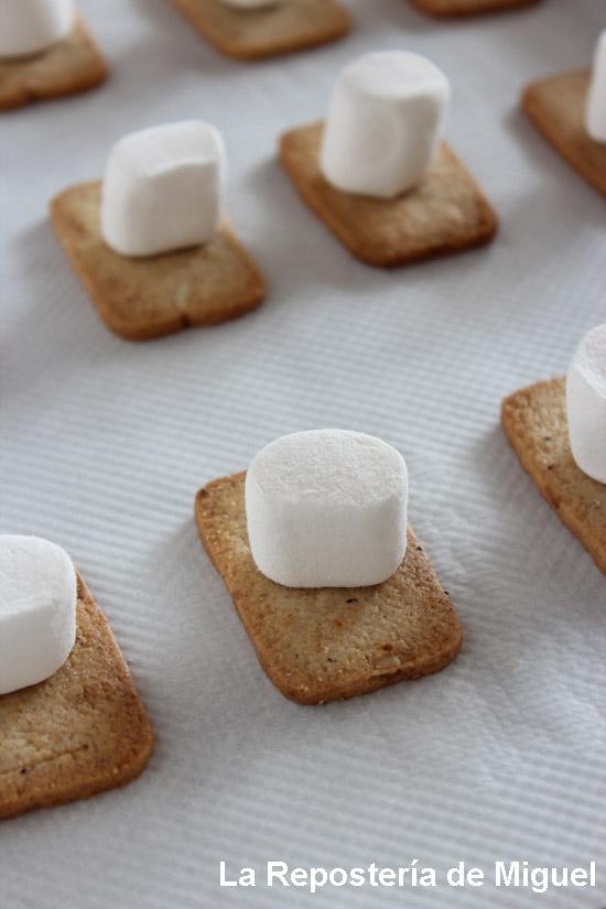 Foto del proceso de elaboración, las galletas puestas en ela bandeja del horno con una nube de azúcar encima de cada una de ellas.