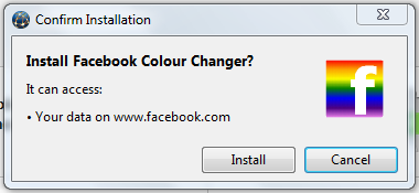 facebook color changer extension popup message