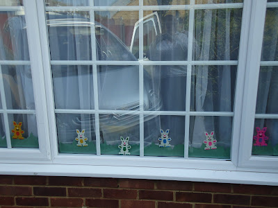 Hama Bead Bunnies in the window