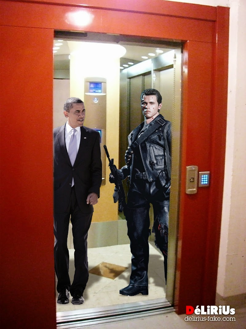 Un homme armé prend l'ascenseur avec Obama